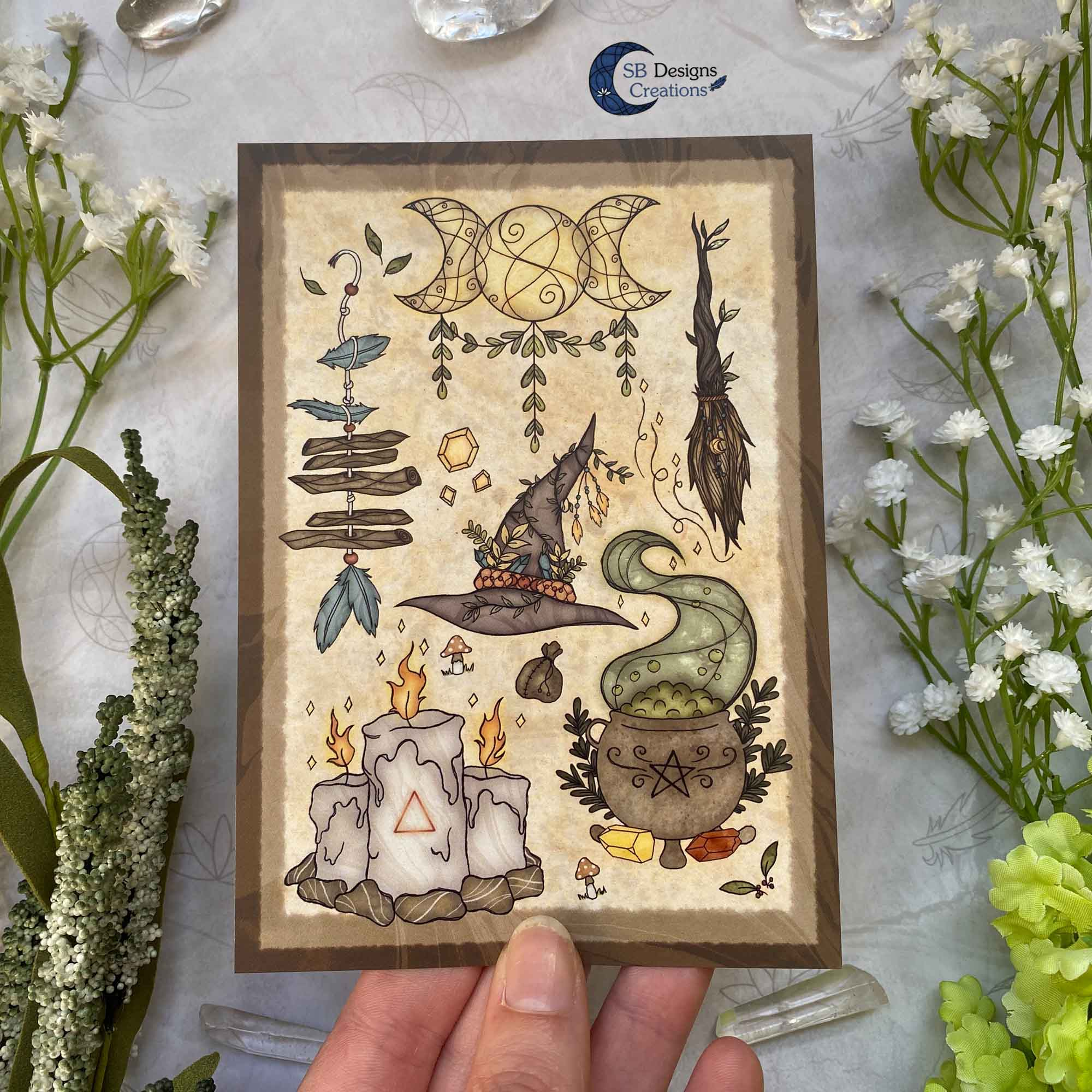 Heks Ansichtkaarten Witchy Vibes heksenhoed Bezem Triple Moon Vuurmagie Cauldron Art-7