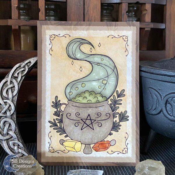 Heks Ansichtkaarten Witchy Vibes heksenhoed Bezem Triple Moon Vuurmagie Cauldron Art-9