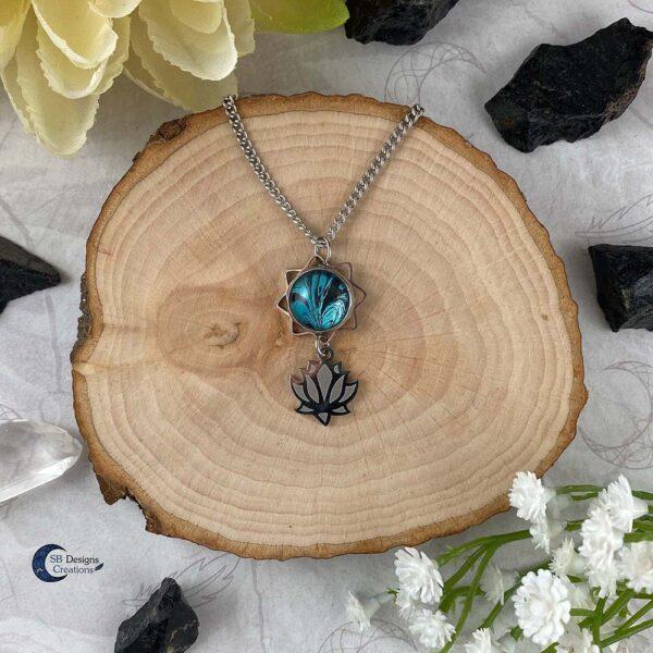 Lotus bloem turquoise fantasy ketting-1