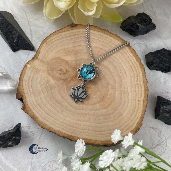 Lotus bloem turquoise fantasy ketting-2