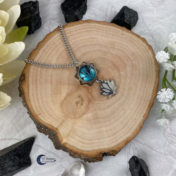 Lotus bloem turquoise fantasy ketting-3