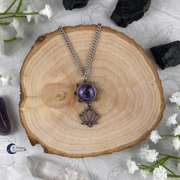 Lotus ketting paars water lelie spirituele chakra sieraden-1