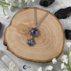 Lotus ketting paars water lelie spirituele chakra sieraden-2