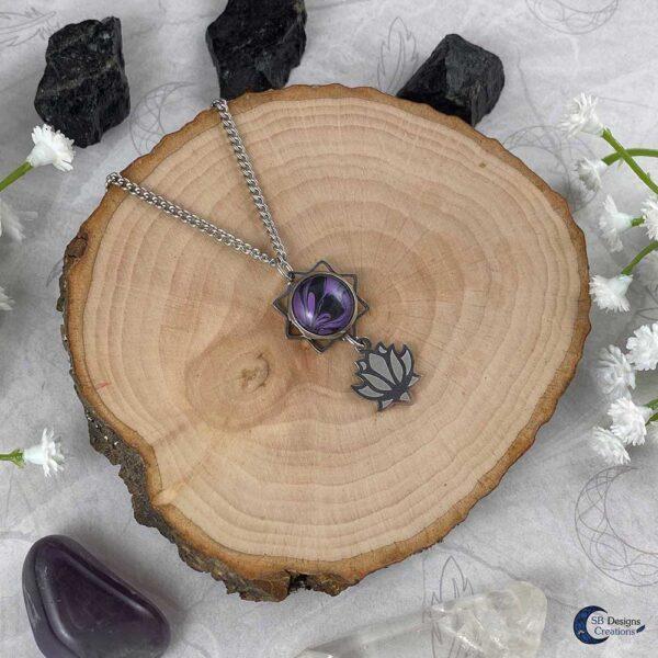Lotus ketting paars water lelie spirituele chakra sieraden-3