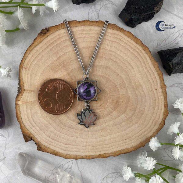 Lotus ketting paars water lelie spirituele chakra sieraden-4