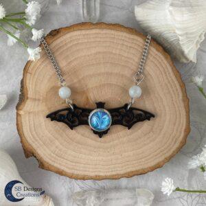 Vleermuis ketting Aquamarine edelsteen gothic fantasy ketting-1