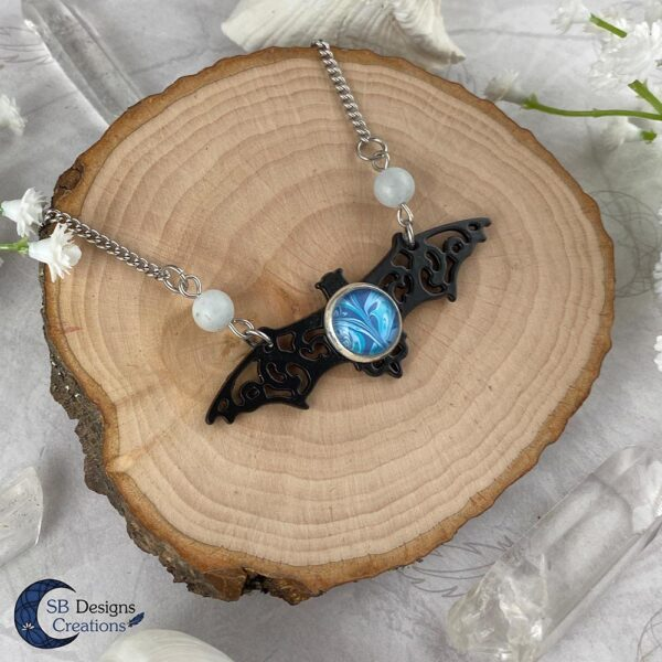 Vleermuis ketting Aquamarine edelsteen gothic fantasy ketting-2
