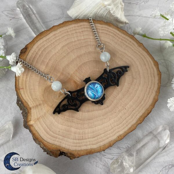 Vleermuis ketting Aquamarine edelsteen gothic fantasy ketting-3