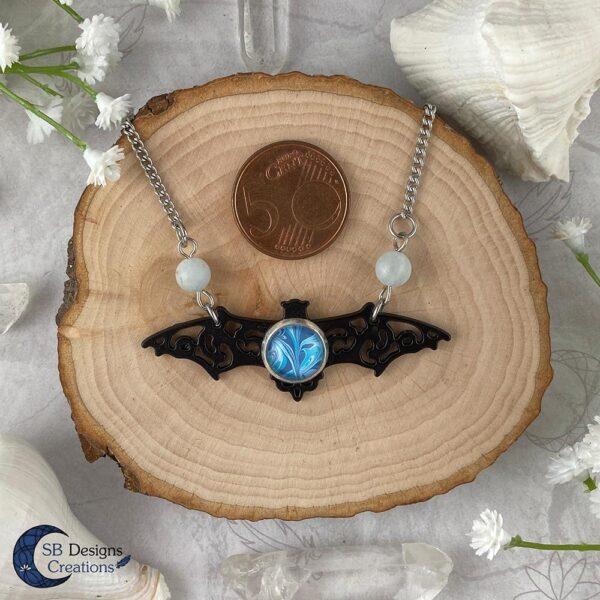 Vleermuis ketting Aquamarine edelsteen gothic fantasy ketting-4