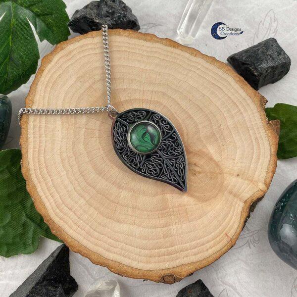 Blad Ketting-natuur sieraden - green witch - forest elf - Boself-2