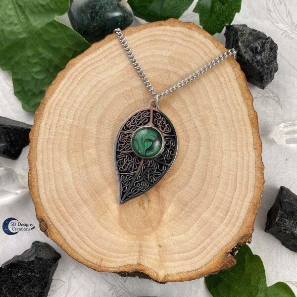 Blad Ketting-natuur sieraden - green witch - forest elf - Boself-4
