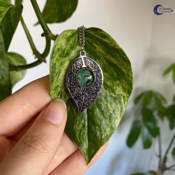 Blad Ketting-natuur sieraden - green witch - forest elf - Boself-5