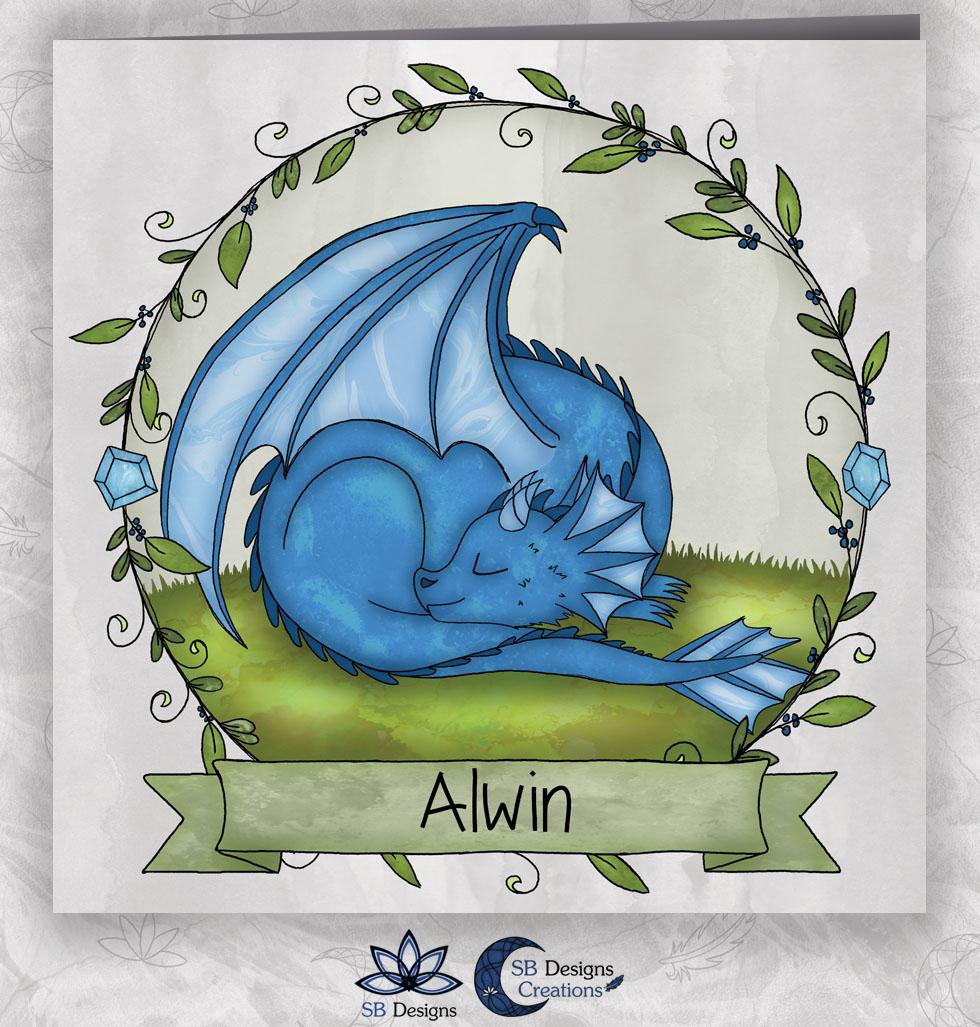 Draken Geboortekaartje Blauw Draakje Baby-1