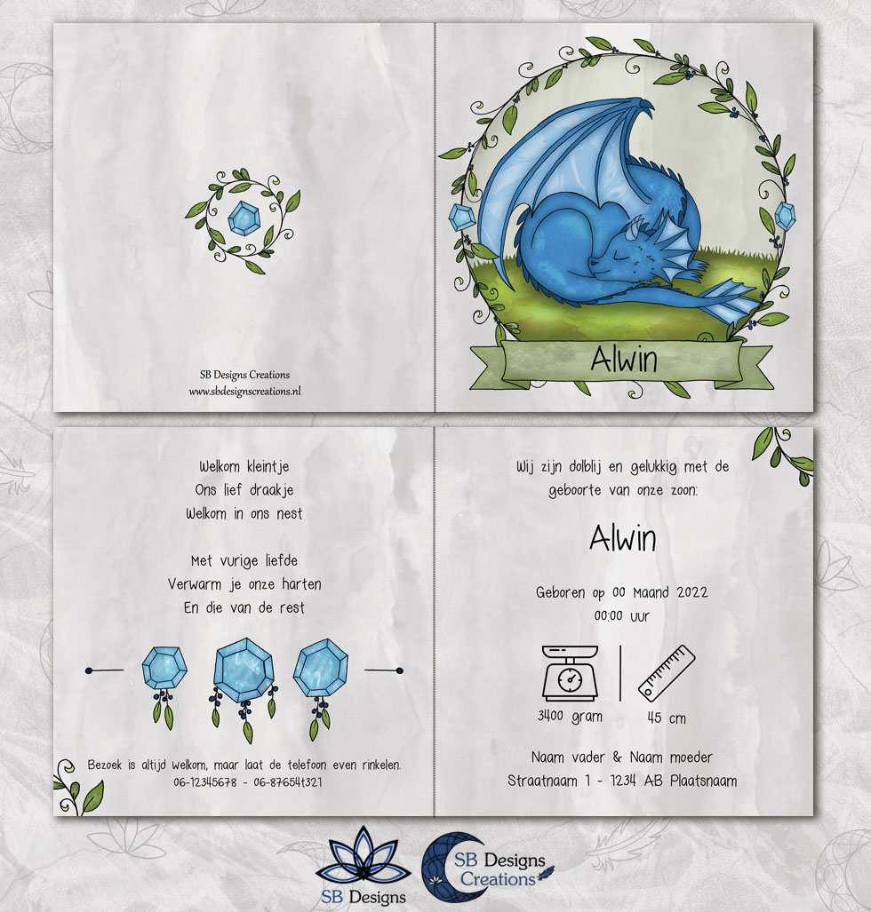 Draken Geboortekaartje Blauw Draakje Baby-3