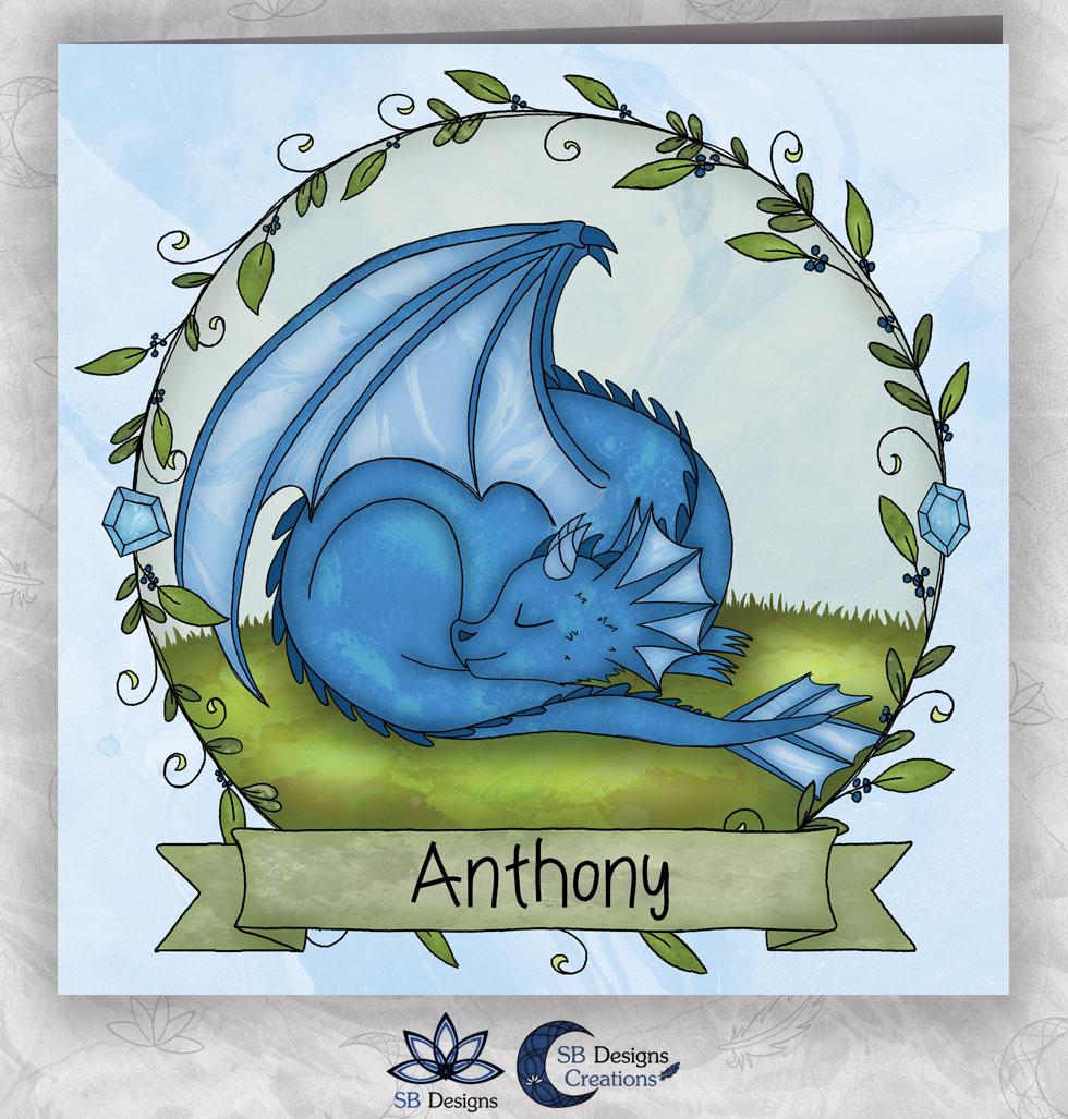 Draken Geboortekaartje Blauw Draakje Fantasy Babykaart-1