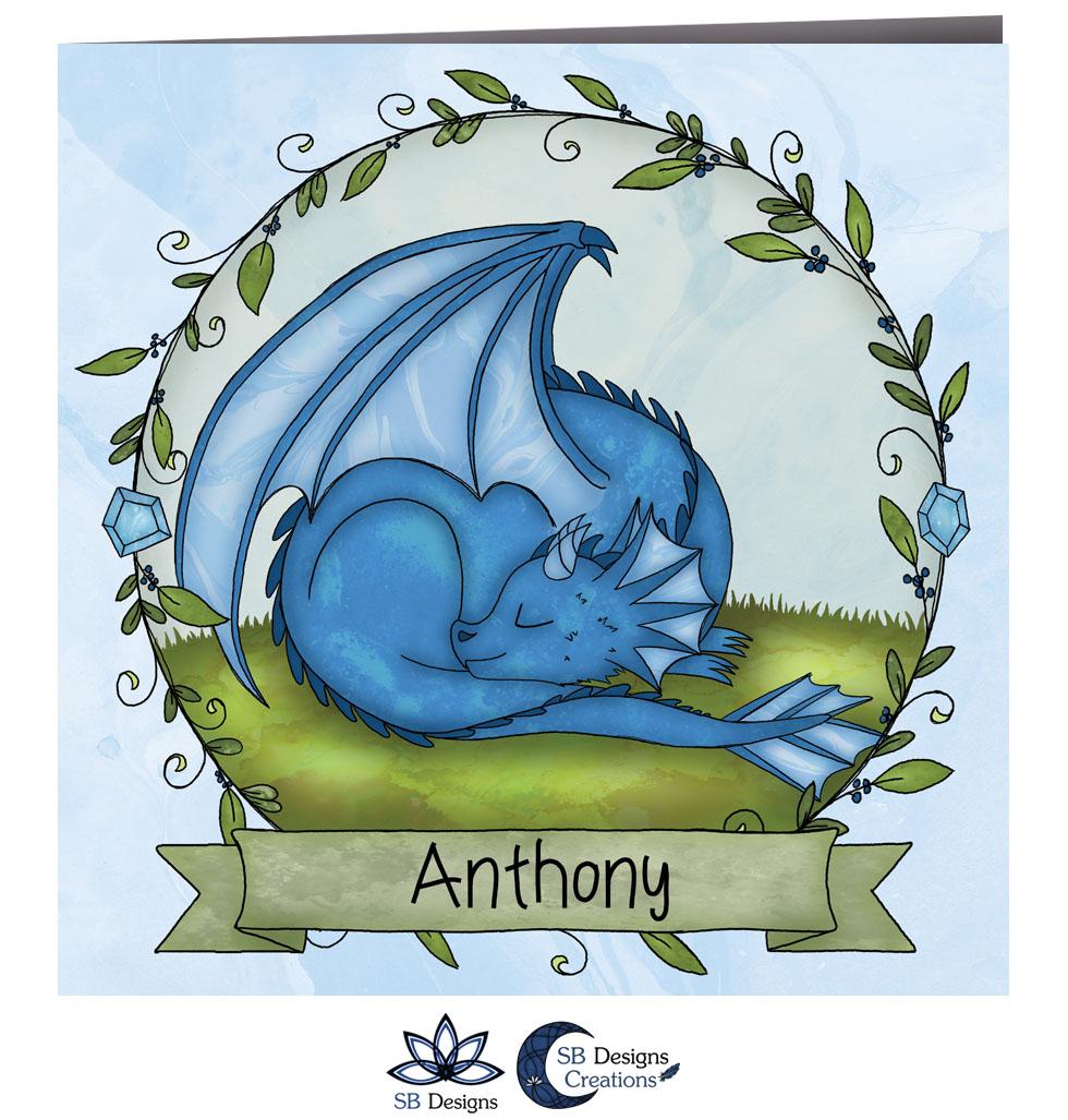 Draken Geboortekaartje Blauw Draakje Fantasy Babykaart-2