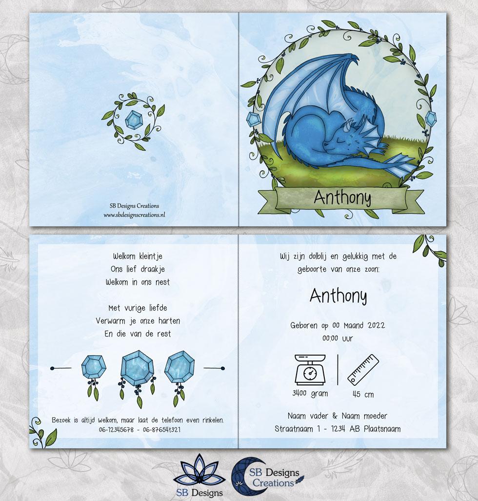 Draken Geboortekaartje Blauw Draakje Fantasy Babykaart-3