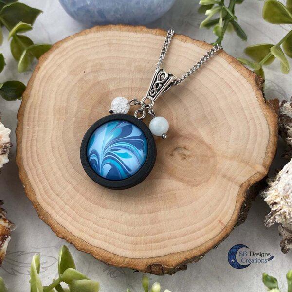 Element of water necklace - Water element sieraden aquamarijn en iris kwarts-2