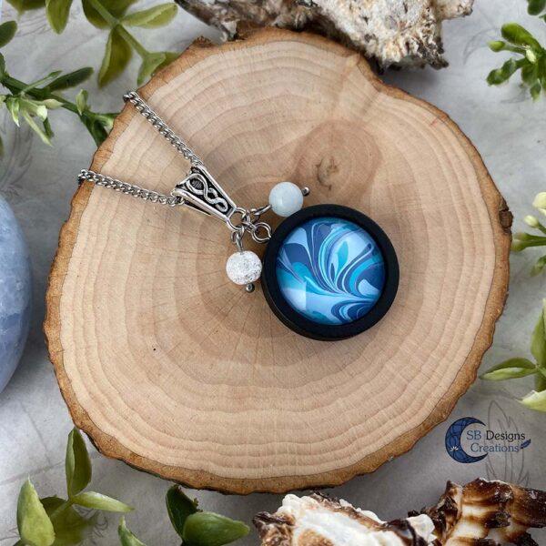 Element of water necklace - Water element sieraden aquamarijn en iris kwarts-3