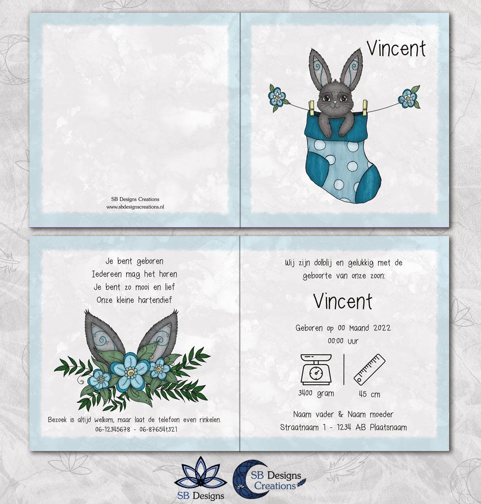 Konijn Geboortekaartje Konijntje Lief Blauw Jongen SB Designs-3