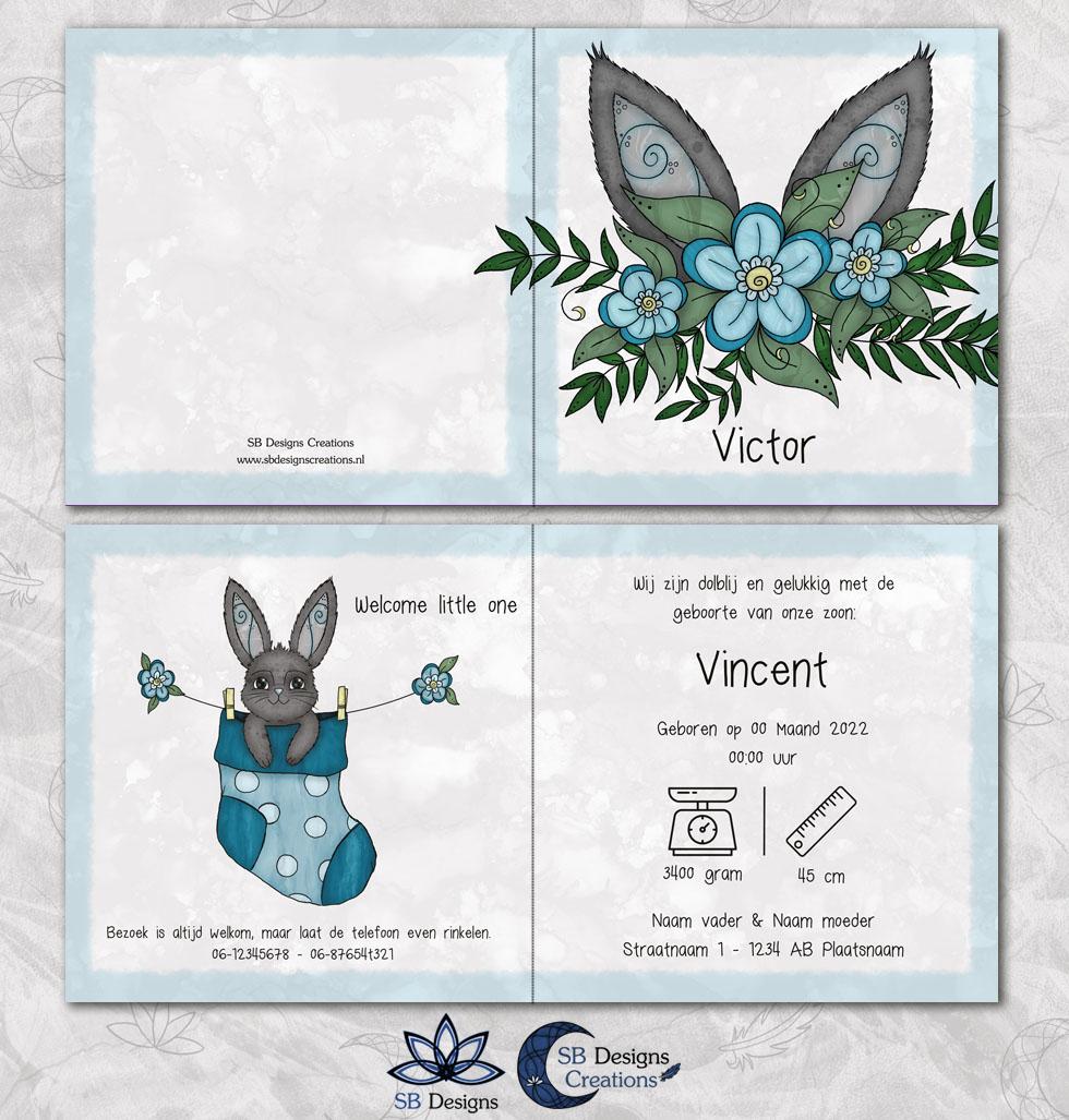 Konijnen oortjes blauw konijn babykaartje lief sokje-3