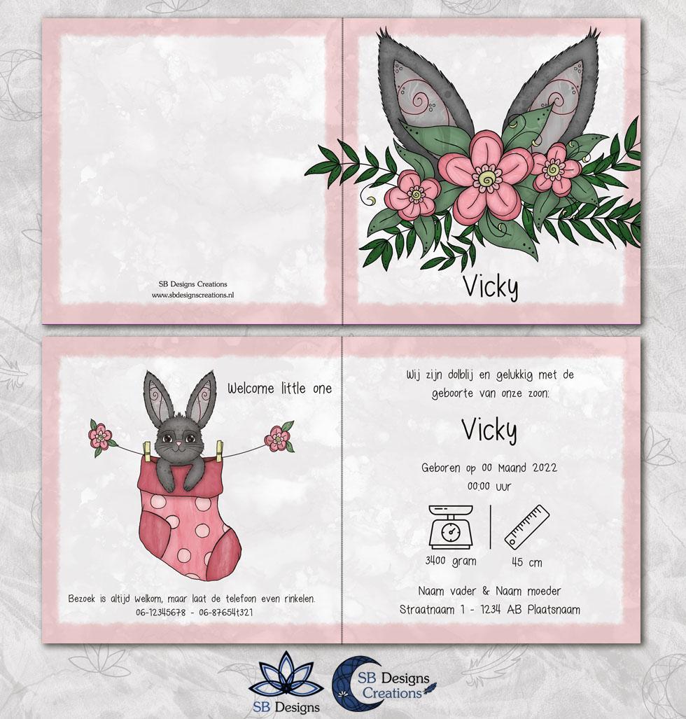 Konijntje babykaart lief geboortekaartje konijn oortjes baby sokje-3