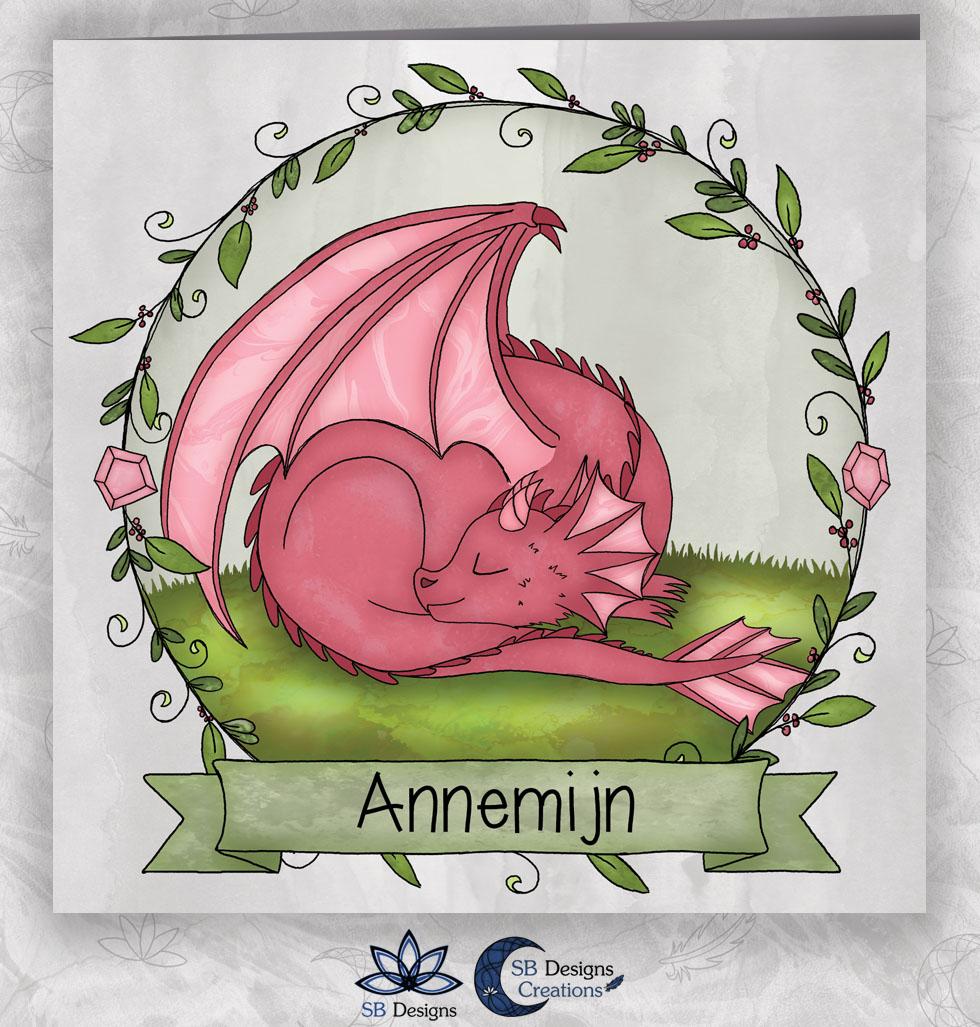 Magisch Geboortekaartje Draak Roze Draakje Fantasy-1