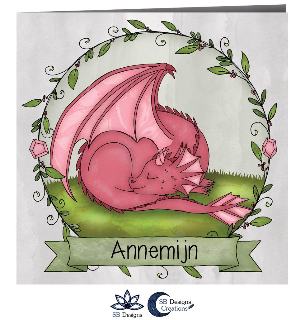 Magisch Geboortekaartje Draak Roze Draakje Fantasy-2