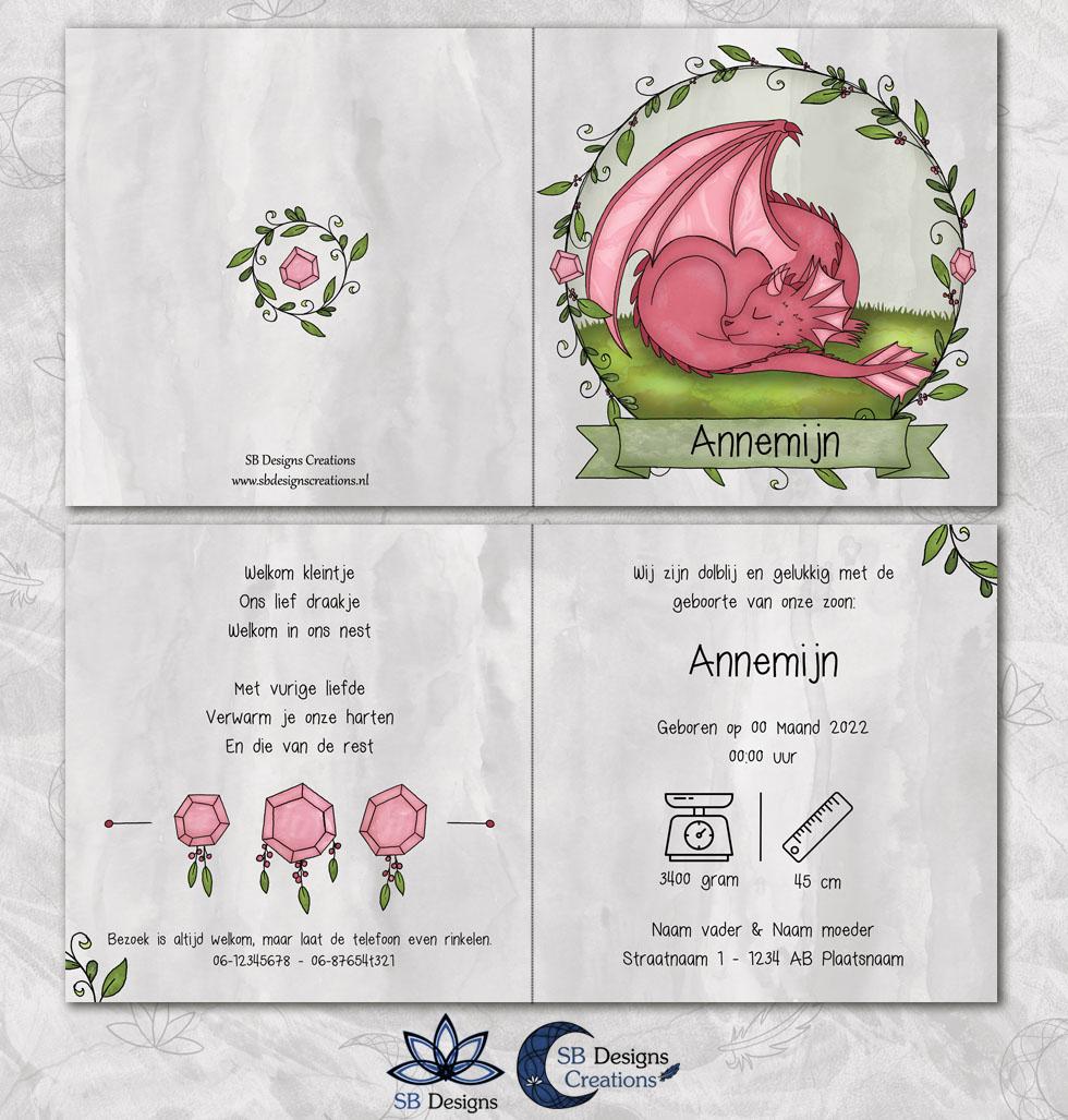 Magisch Geboortekaartje Draak Roze Draakje Fantasy-3