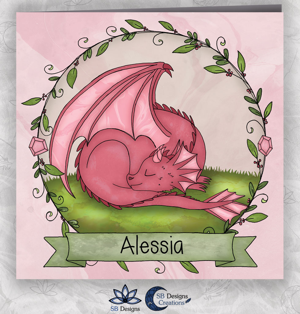 Roze Draakje Baby Geboortekaartje Fantasie-1
