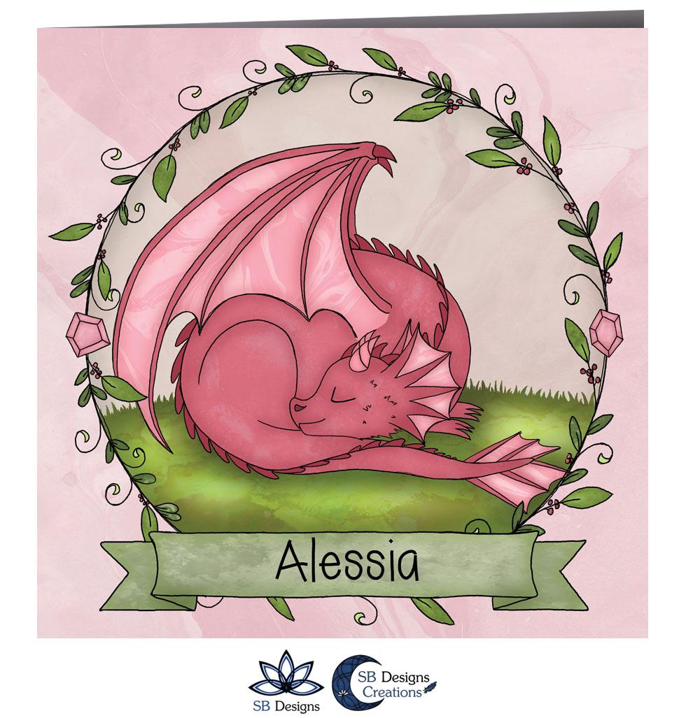 Roze Draakje Baby Geboortekaartje Fantasie-2