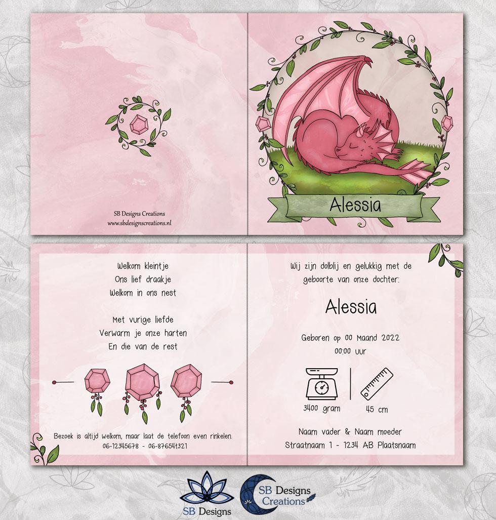 Roze Draakje Baby Geboortekaartje Fantasie-3