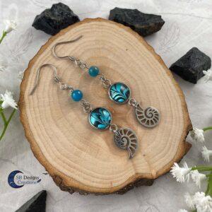 Schelp Oorbellen Apatiet Fantasy Turquoise Sieraden- Sea Witch-1