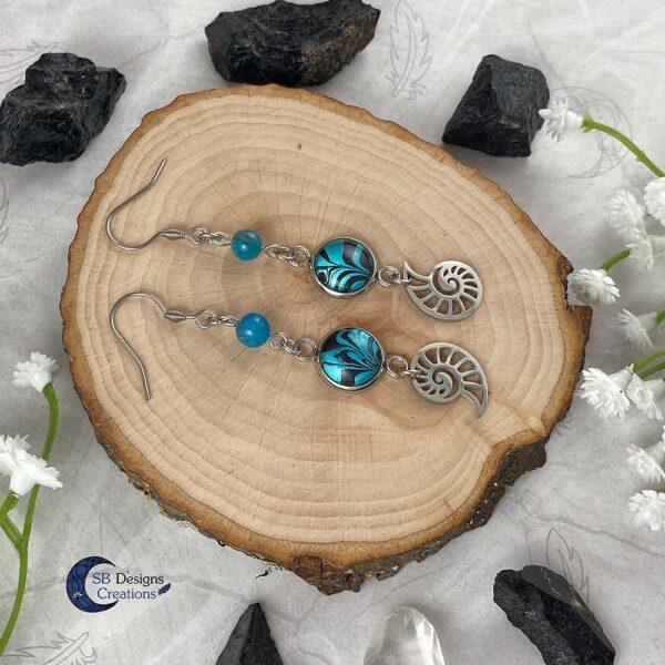 Schelp Oorbellen Apatiet Fantasy Turquoise Sieraden- Sea Witch-2