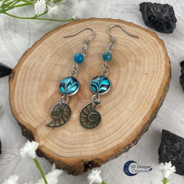 Schelp Oorbellen Apatiet Fantasy Turquoise Sieraden- Sea Witch-3