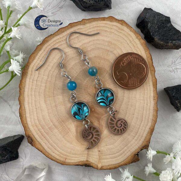 Schelp Oorbellen Apatiet Fantasy Turquoise Sieraden- Sea Witch-4