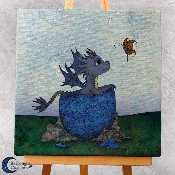 Baby Draakje Canvas Print Blauw Fantasy Art