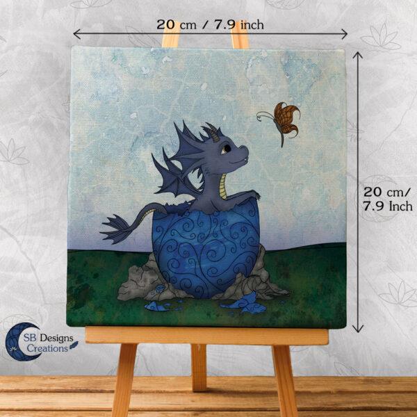 Baby Draakje Canvas Print Blauw Magische Krachtdieren
