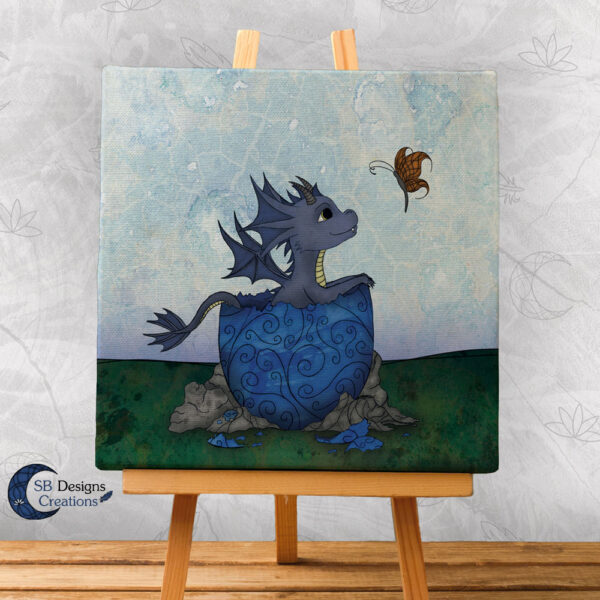 Baby Draakje Canvas Print Blauw SBDesignsCreations