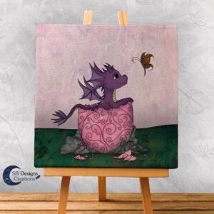 Roze Babydraakje Canvas Art SB Designs Creations