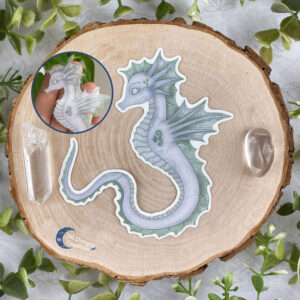 Zeepaard Krachtdier Spirit Animal Seahorse Vinyl Sticker Transparant