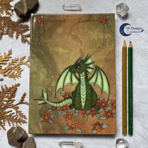 Bloemen Draakje A5 Hardcover Notebook Journal Fantasy Draken Art-1