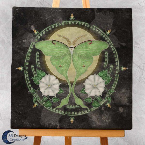 Luna Moth Maanvlinder Canvas Art Print Spiritualiteit