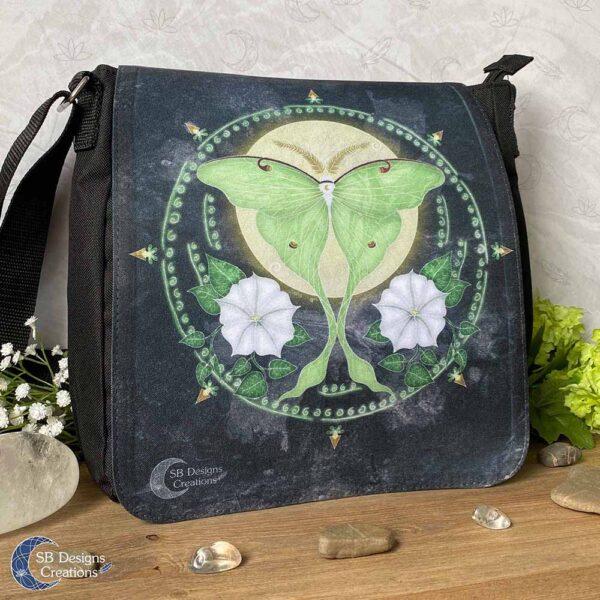 Luna Moth Maanvlinder Lunar Mot Maanbloemen Schoudertas-2