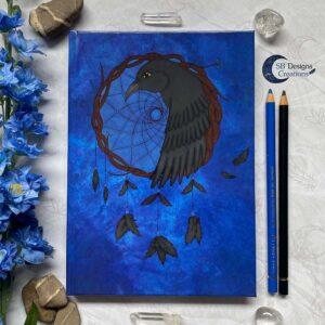 Raven Dromenvanger Krachtdier Spirit Animal A5 Notebook