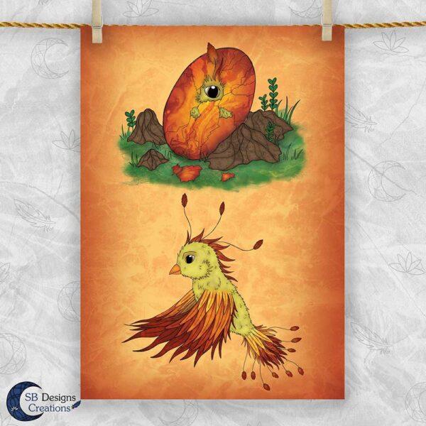 Feniks Vuurvogel Baby Firebird Magische Wezens SB Designs Creations