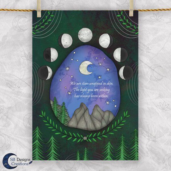 Natuur Maanfasen Quote Art Print A4 Poster