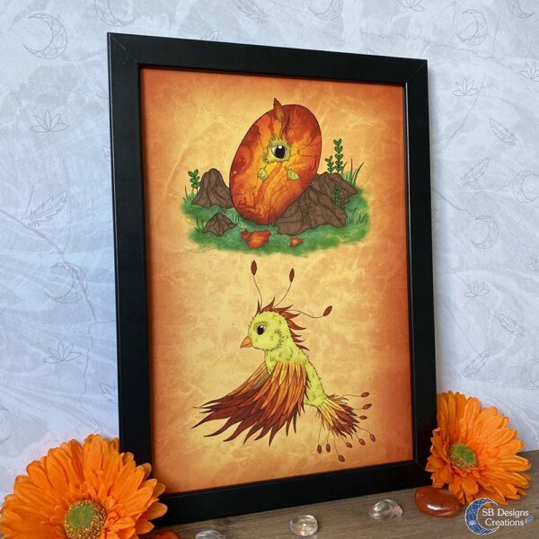Vuurvogel Curte Baby Feniks Fantasy Art Phoenix Nursery Art Print A4