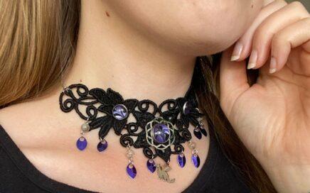 Dragon-Choker-Lace-Choker-Purple-Stainless-Steel