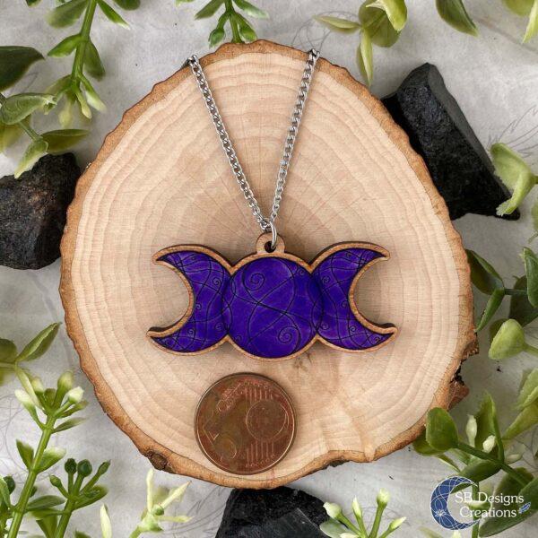 Drievoudige Maan Paars Houten Ketting Triple Moon Purple Witch